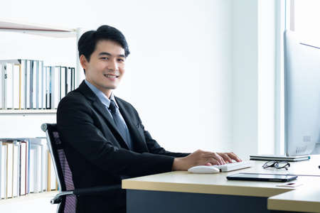 Portrait of young asian business idea for business finance concept. Stock Photo