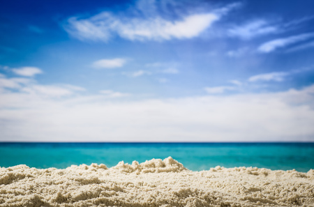 Horizontal low angle view of beach and blue sky Imagens