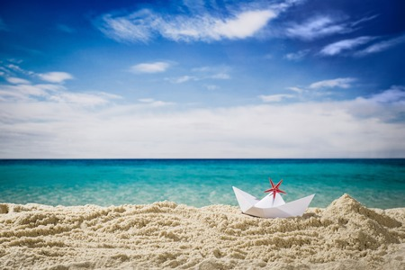 low angle view: Horizontal low angle view of beach and blue sky Stock Photo