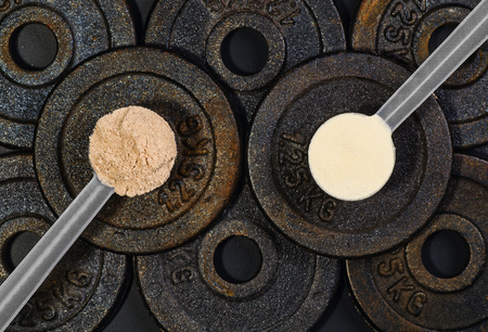 Product photograph of scoop of whey protein with visible texture on black background made of dumbbell plates. Image taken from above, top view