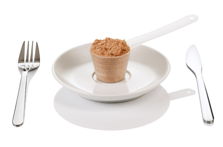 muscle gain: Product photograph of scoop of whey protein with visible texture and mirror reflection Stock Photo