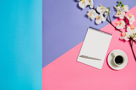 feminine background: Flat lay photo of a creative freelancer woman workspace desk with copy space background. Image taken from above, top view. Minimal style with colorful paper backdrop