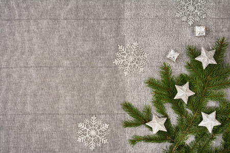 tree decorations: Christmas table seen from above, top view. Linen, vintage background with visible texture. Mock up with a lot of copy space for text or graphical elements. Stock Photo