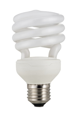 classic light bulb: Traditional, classic fluorescent light bulb isolated on white background. Stock Photo