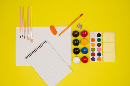 shool: School table or desk seen from above. Top view product photograph. Shool or university concept image. Back to school background. Stock Photo