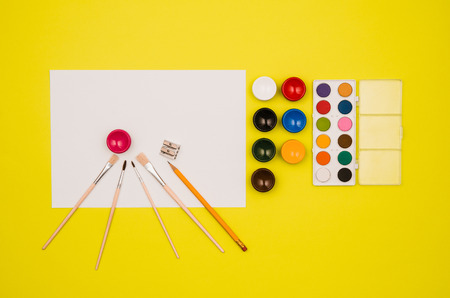 primary product: School table or desk seen from above. Top view product photograph. Shool or university concept image. Back to school background. Stock Photo