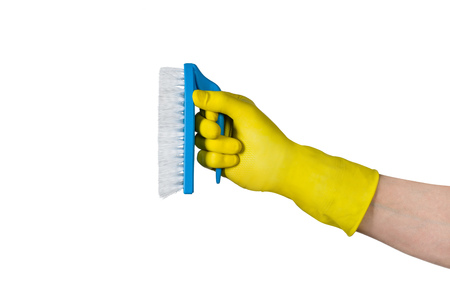 Cleaning conept - hand cleaning with cleaning brush. Isolated on white background Stock Photo
