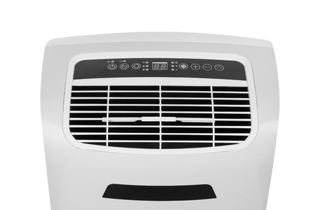 Studio closeup product shot of a portable air conditioner or mobile dehumidifier isolated on white background with copy space. Climate control equipment Zdjęcie Seryjne