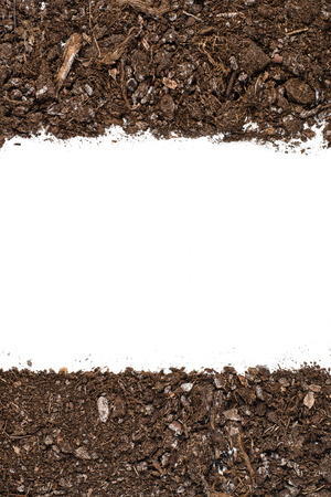 turf pile: Fertile soil texture background seen from above, top view. Gardening or planting concept. Frame or border isolated on white