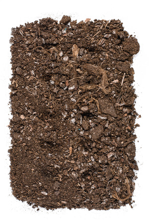turf pile: Fertile soil texture background seen from above, top view. Gardening or planting concept. Isolated on white Stock Photo