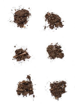 Set of fertile soil texture background seen from above, top view. Gardening or planting concept. Isolated on white Zdjęcie Seryjne