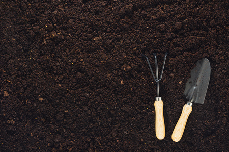 Gardening tools on fertile soil texture background seen from above, top view. Gardening or planting concept. Working in the spring garden. Zdjęcie Seryjne