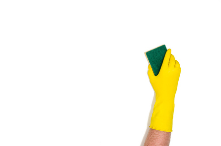 Mans or womans isolated hand cleaning on a white background. Concept image with copy space for text or design elements. Image taken from above, top view
