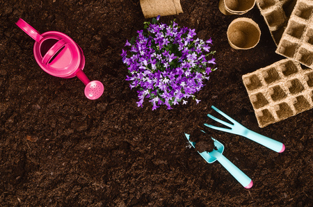Gardening tools on fertile soil texture background seen from above, top view. Gardening or planting concept. Working in the spring garden. 版權商用圖片
