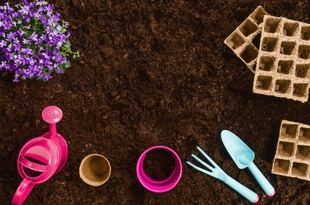 Gardening tools on fertile soil texture background seen from above, top view. Gardening or planting concept. Working in the spring garden. Stock Photo