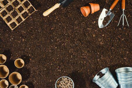 Gardening tools on soil texture