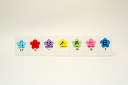 pill box: JapaneseEnglish Pill Box Empty Stock Photo