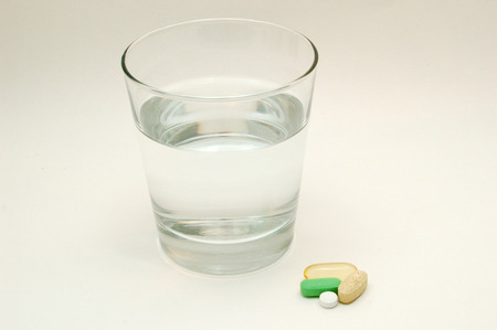 Glass Of Water And Vitamins Stok Fotoğraf