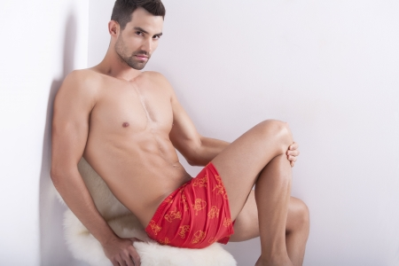 Closeup of a muscular handsome man in underwear  Stock Photo