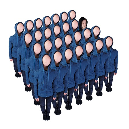 unknown gender: Faceless crowd with an exception  Stock Photo