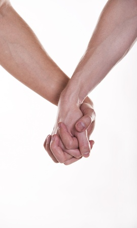 Two man holding hands  Stock Photo