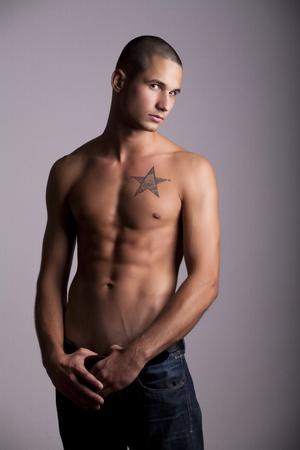 Semi-nude muscular man