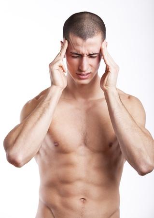 migraine: Man having a headache