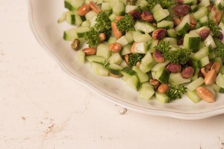 fresh healthy salad on wood textures