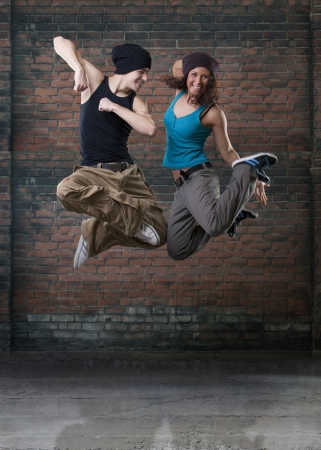 street dance: Passion dance couple jumping
