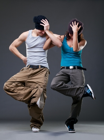 hip hop dancing: Passion dance couple  Stock Photo