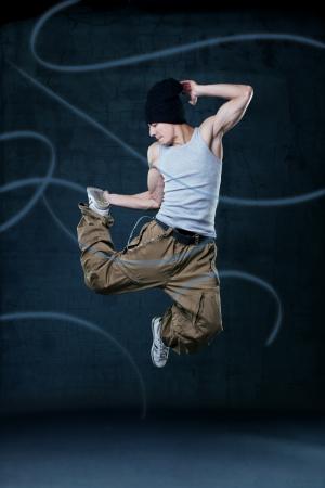 ballet hombres: Joven hip-hop Bailarín de salto