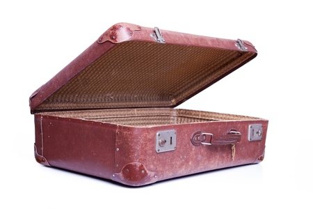 leather briefcase: Vintage brown suitcase isolated over white background
