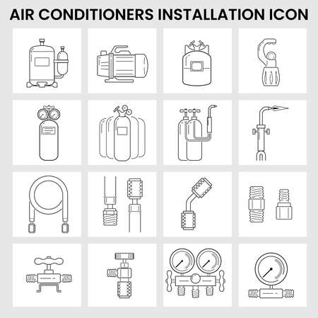Sets of tools or equipment for working with air conditioners installation-modification-maintenance-repairing-service works.