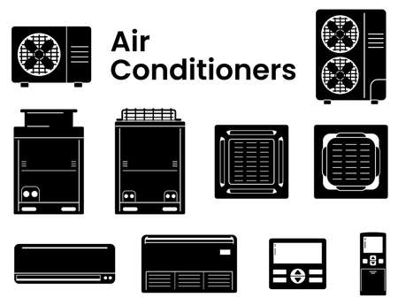 Vector Icons set(black) of Air conditioners module in various type as symbol-block-line-outline. There's various objects of air conditioners-condensing unit-fan coil unit-indoor unit-outdoor unit- ceiling mount-wall mount and remote controller