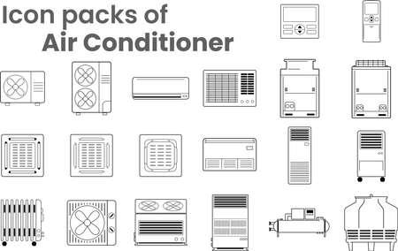Vector Icon packs of Air conditioners various type as symbol-block-line-outline. Various objects of air conditioners-condensing fan coil indoor-outdoor unit ceiling mount wall mount and remote control