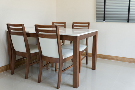 Wooden Dining Table For 4 People Stock Photo, Picture And Royalty Free  Image. Image 27960036.