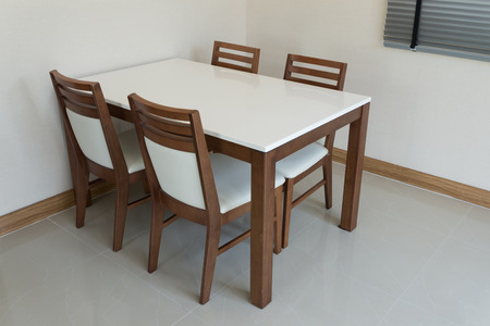 Wooden Dining Table For 4 People Stock Photo   27906897
