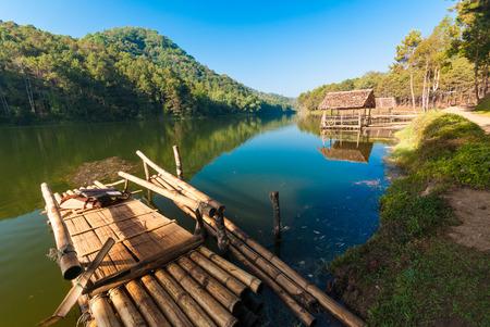 Bamboo raft on Pang Ung reservoir lake  Pang ung Thailand photo