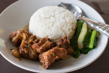 pork with rice ,Thai Food photo