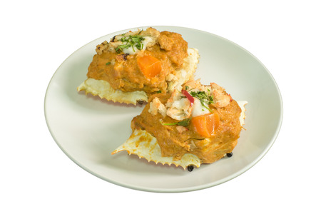 carapace: streamed crab curry in the carapace Stock Photo