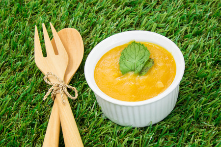 cotta: Mango Panna Cotta Stock Photo