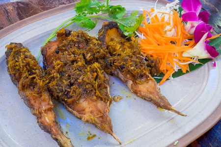 curcuma: Fried fish with curcuma Stock Photo