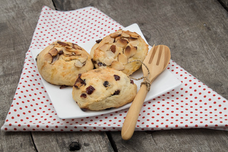 scone: Cranberey Scone  with peanut and almond , close up Stock Photo
