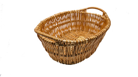 wooden basket: wooden basket isolate on white background