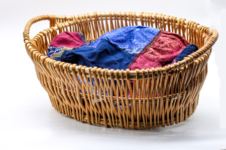 wooden basket: wooden clothes basket take for laundry