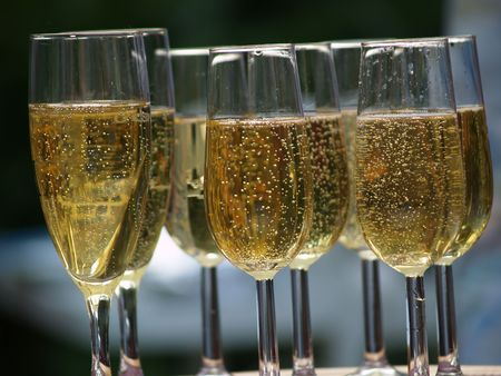 Filled champagne glasses Stock Photo