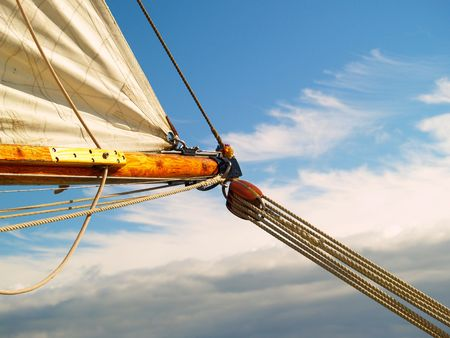 onboard: Sailing to the bright blue sky, hoping for better weather Stock Photo