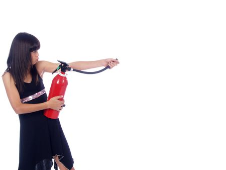 young girl with fire extinguisher photo