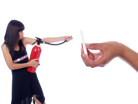 young girl killing cigarette with fire extinguisher photo