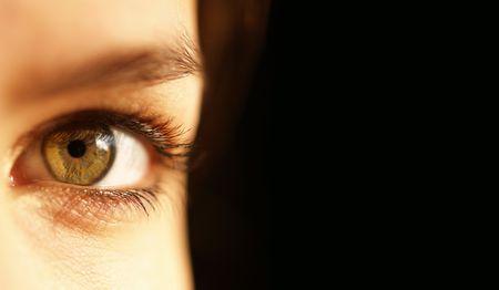 dilate: Low key image of a beautiful green eye